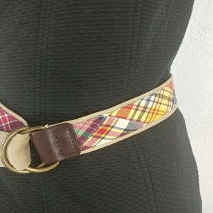 J. Crew plaid cotton belt size L/XL style 90350